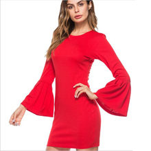2018 Autumn Summer Dress Women Elegant Red Black White Mini Party Dresses Flare Long Sleeve Bodycon Sheath Dress vestidos QC780(China)