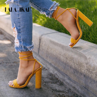 LALA IKAI Fashion Women Summer Shoes Ankle Strap Cross tied Super High Square Heeled Ladies Wedding Party Sandals 014C1882 5