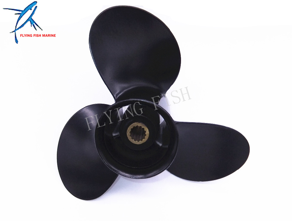 ФОТО 9.25x9 Boat Engine Aluminum Propeller for Tohatsu / Nissan 2-Stroke 9.9hp 12hp 15hp 18hp Outboard Motors 14P 9.25 x 9