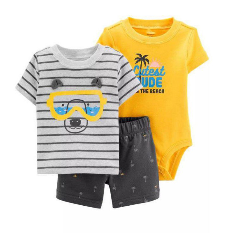 Cartoon t-shirt tops + body + shorts für baby boy kleidung neugeborenen set 2019 sommer outfit neue geboren kleidung anzug trainingsanzug kostüm