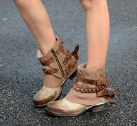 Женские ботильоны с круглым носком и кожаным ремешком на заклепках; женские Ботинки martin в ковбойском стиле на среднем каблуке; ботильоны с п
