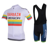 Bahrain MERIDA 2018 Men White Summer Short Sleeve Set Cycling Jersey Quick Dry Bib Shorts Ropa Ciclismo Clothing Bike Clothes