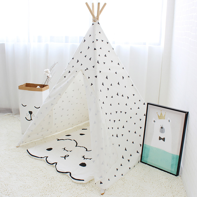 Black Triangle Printed Children Play Tent Cotton Canvas Kids Teepee Tent for Baby Room Decoration Children Play House Tipi Toy black tree printed children teepee four poles kids play tent cotton canvas tipi for baby house ins hot foldable children s tent