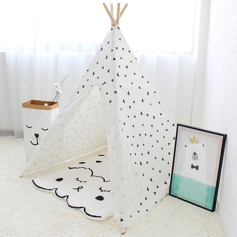 Triangle noir imprimé enfants jouent tente toile de coton enfants Tipi tente pour bébé chambre décoration enfants jouer maison Tipi jouet