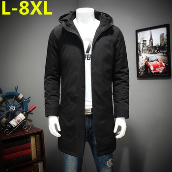 8XL plus size in the long winter cotton padded clothes men XL warm coat fat fat thick jacket hooded cotton down free shipping