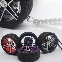 Luxury Racing Car Tires Model Metal Wheel Keychain Leather Rope Men Car Wheel Bead Chain Pendant