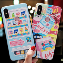 Japanese cartoon vending machine delicious snack Emboss Case For Xiaomi mi 8 mi8 se ,MI8 PRO ,Mi8 Explorer case