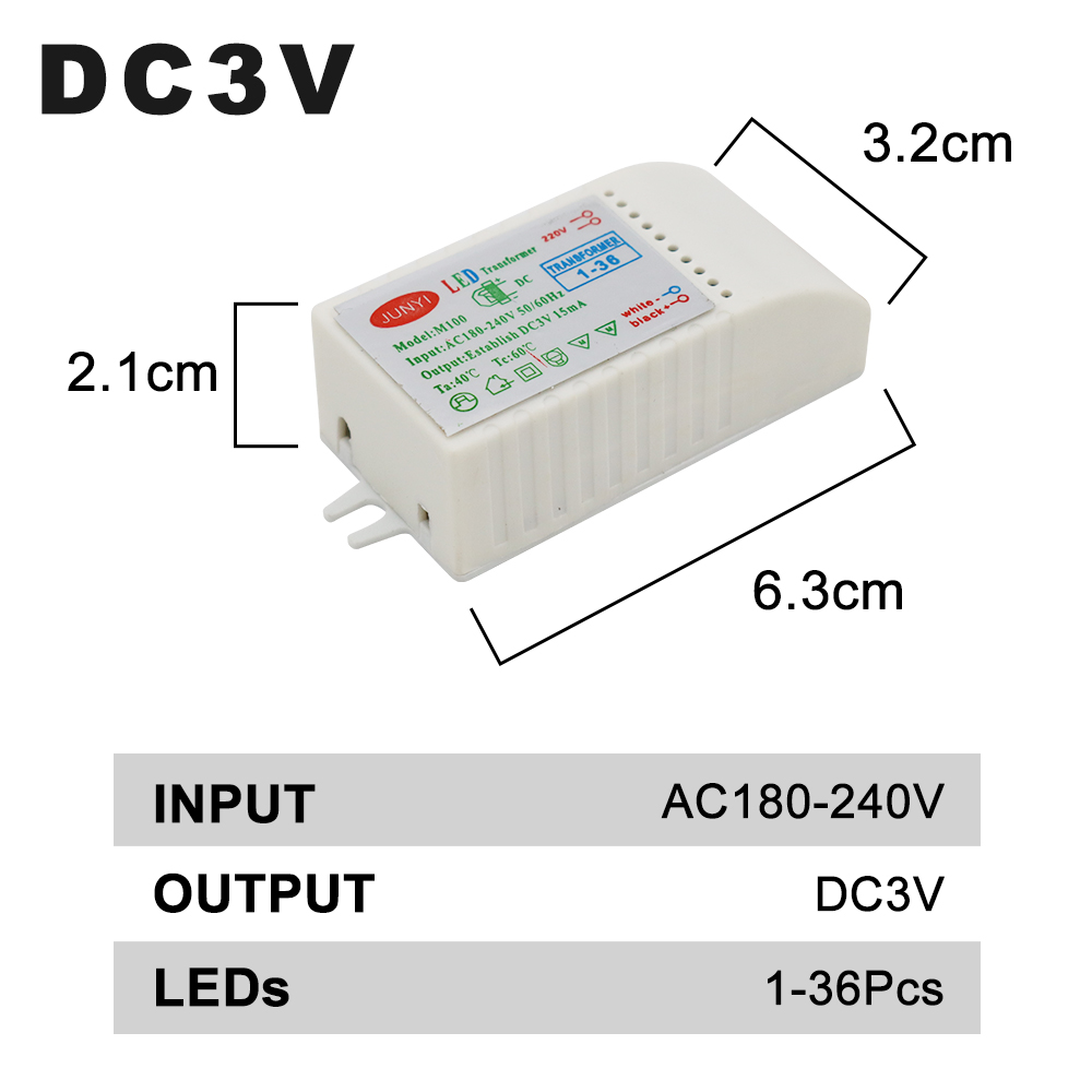 Image 2 - 1 80pcs Led Electronic Transformer 220V To DC3V Low Voltage LED Controller Power Supply LED Driver 15mA For Light Emitting Diode-in Lighting Transformers from Lights & Lighting