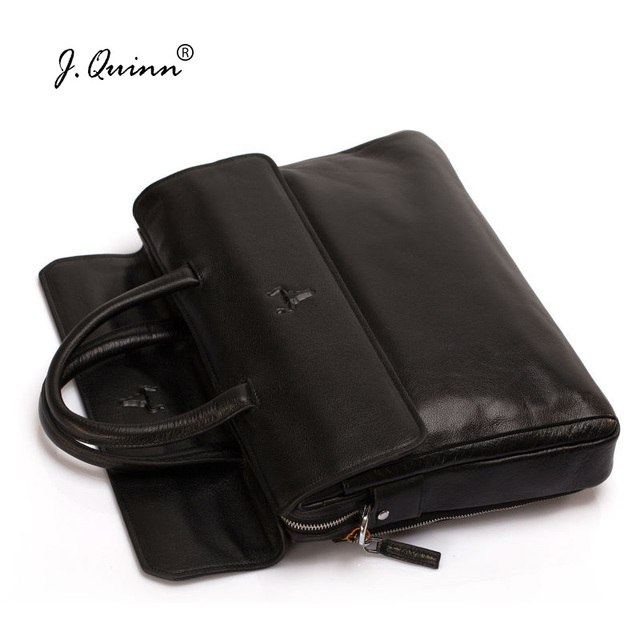 J.Quinn Men Soft Grain Leather Business Briefcases Document Male Classic Cowhide Famous Brand Man Handbag Bags Fashion Briefcase
