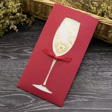 20pcs/lot Creative Bronzing Greeting Card Wine Glass Hollow Paper Card Business Wedding Invitation Card with Blank Inner Page 10pcs lot handmade single page paper greeting card birthday party invitation with blank inner page gift card
