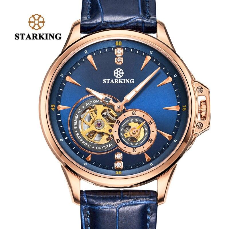 STARKING Rétro Bleu Hommes Montres Top Marque De Luxe Mode Homme Montre-Bracelet Saphir Automatique Mécanique Montre Relogio Masculino