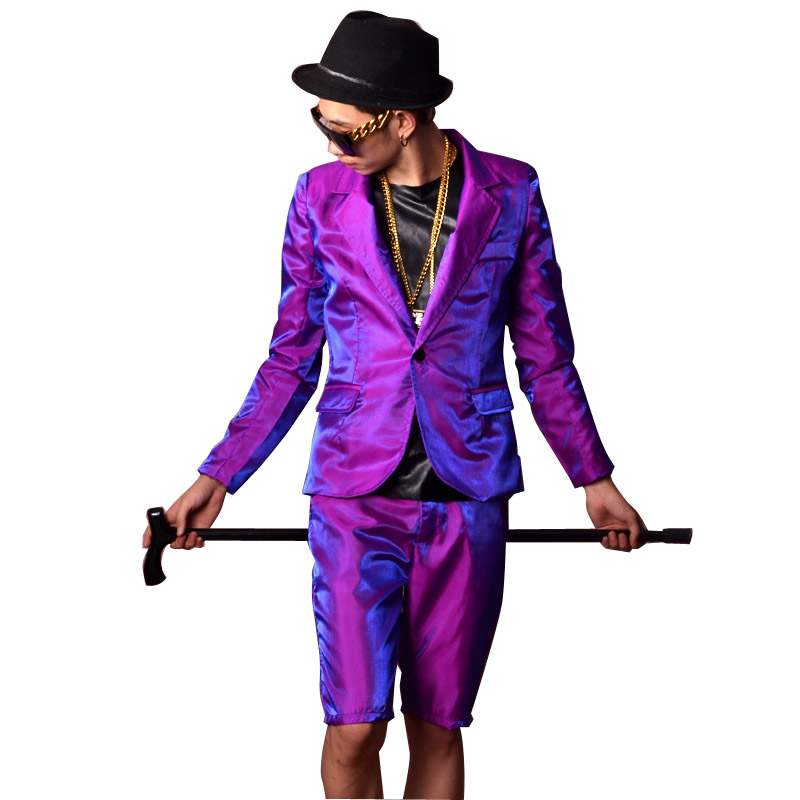 <font><b>Men</b></font> Purple Shine Casual <font><b>Suits</b></font> (jacket+<font><b>shorts</b></font>) Custom Made Male Fashion Hip Hop Slim Fit Blazer Singer Dancer DJ Stage Costumes image