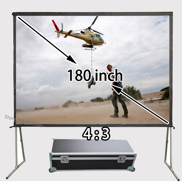 New Quick Folding Frame Projector Screen 180inch Floor Stand Stable Front Projection Screens 4:3 Suit For Private Theater hd projector projection screen 300inch 16 9 format outdoor fast folding frame screens for camping music party
