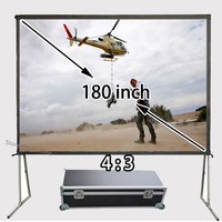 New Quick Folding Frame Projector Screen 180inch Floor Stand Stable Front Projection Screens 4:3 Suit For Private Theater