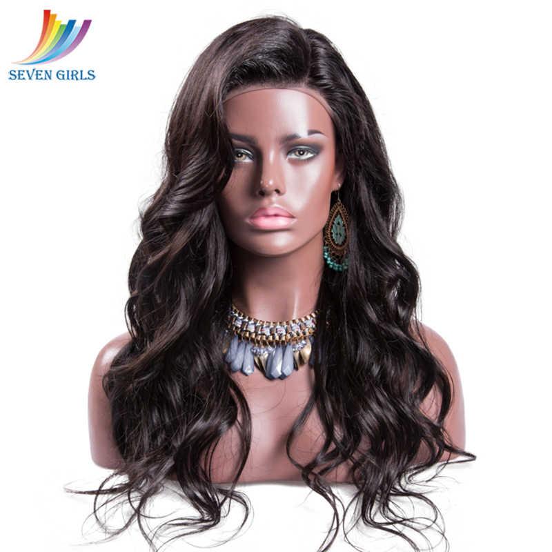 Sevengirls бразильские предварительно выщипанные кружевные передние человеческие волосы парики натуральный цвет влажные и волнистые девственные волосы парики для женщин Бесплатная доставка
