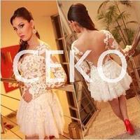 2016 Nouveau Robes Femininos Slim fit Conception Blanc Crochet Sexy dentelle Bandage Robe Femmes à manches longues dos nu Prom Party robe XL