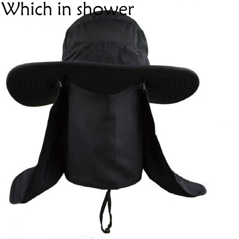 0a6a08f621f Whichinshower Wide Large Brim Sun Block Fishing Hat Face Neck Protection  Summer Sun Cap Mountain Climbing