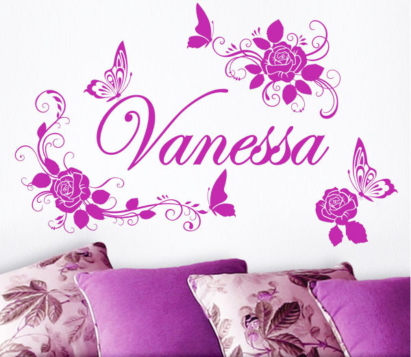 Name custom butterfly+ flower DIY removable Carved wall stickers for kids rooms