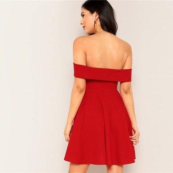 Vestido rojo sexy off-shoulder 1