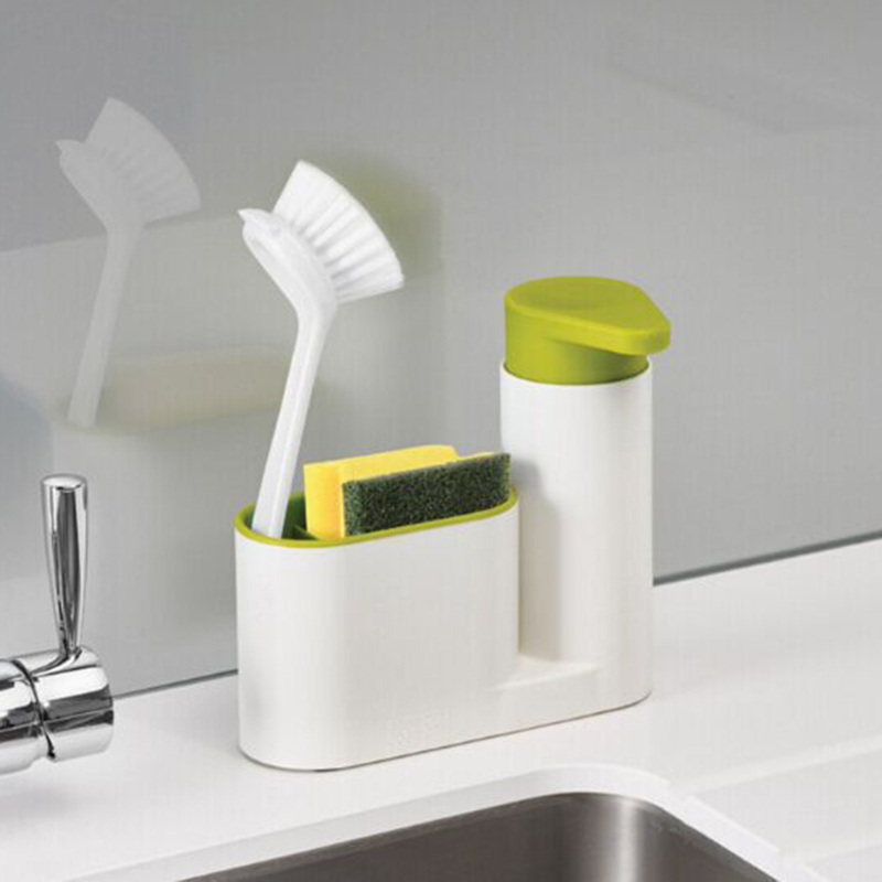 Bathroom:  2 in 1 Multifunctional Washing Sponge Storage Shelf Kitchen Bathroom Sink Detergent Soap Dispenser Storage Rack Stands FY0018 - Martin's & Co