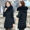 2016 женские зимние хлопка ватник женщина большой меховой воротник моды утолщаются длинное пальто верхняя одежда плюс размер QY15111603