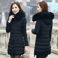 2016 mujeres de invierno de algodón acolchado chaqueta de cuello de piel grande hembra moda espesar abrigo largo prendas de vestir exteriores más tamaño QY15111603