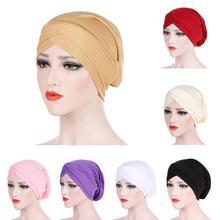 มุสลิม Cross หมวกอิสลามสวมหมวกอินเดีย Turban Headwrap ผู้หญิงมะเร็ง Chemo ผมร่วงหมวกผ้าพันคอ Wrap skullies หมวกแฟชั่น