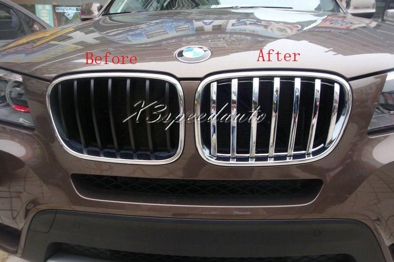 Revêtement d'habillage de Grille de gril en plastique d'abs chromé pour BMW X3 2011-2013