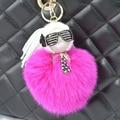 Bolsa de zorro de la marca Monster Bugs Pom Pom Muñeca llavero De Bola karlito Encanto Del Bolso llavero de peluche para coche llavero Colgante Del Bolso