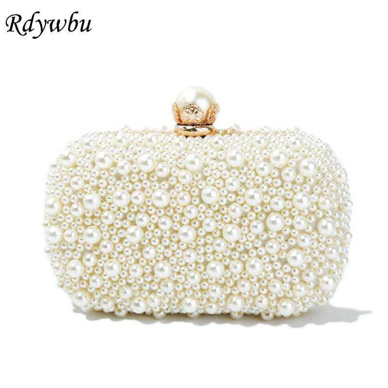 Rdywbu Best New Noble Female Pearl Clutch Bags Purse 2018 Fashion Beaded Evening Bag Women Handbag Female Wedding/Party Bags H35 new vintage women pearl bag beaded handbag evening party bags handmade tote bag