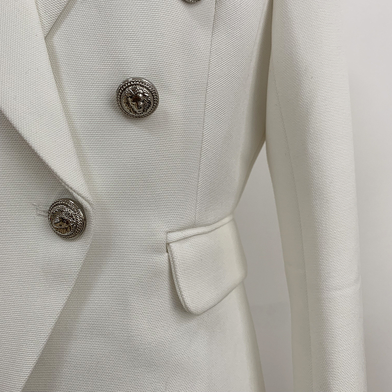 HIGH QUALITY Newest Fashion 2019 Designer Blazer Women's Silver Lion Buttons Double Breasted Blazer Jacket