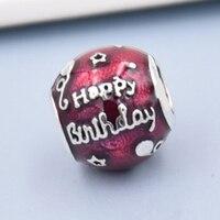 Top Quality Birthday Celebration Transparent Cerise Enamel Beads Fit Pandora Bracelet Bangle 925 Sterling Silver DIY