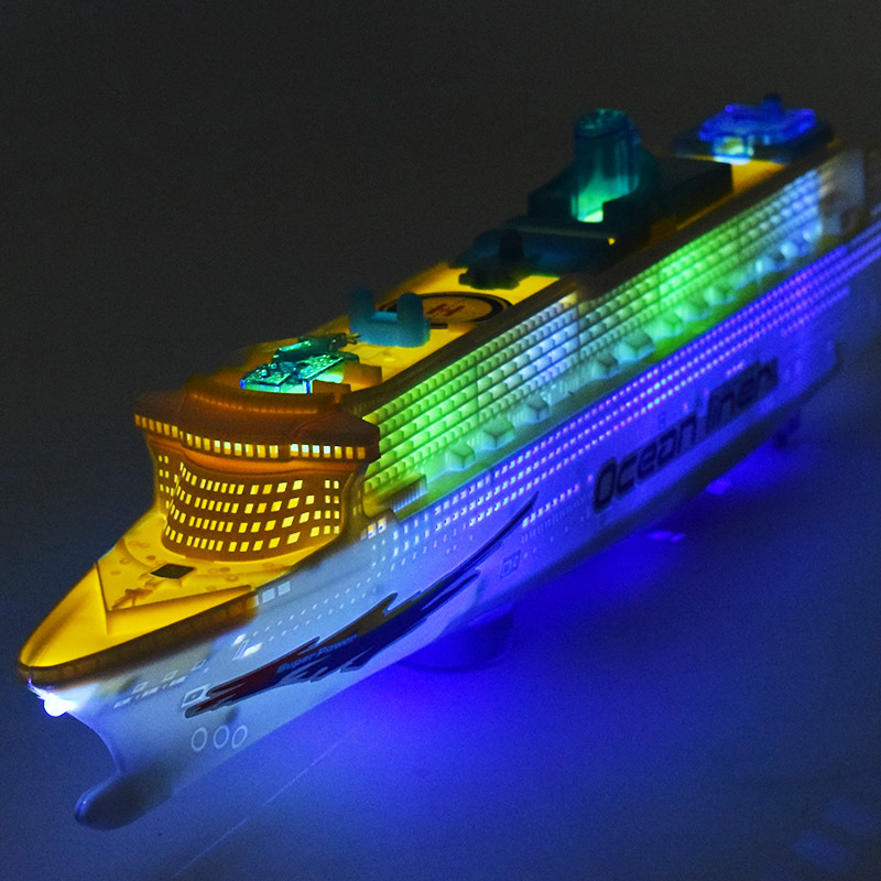 [ Funny ] Electronic Large luxury cruise ship Toy Universal rotation music light Boat mo ...