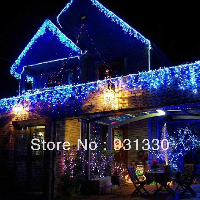 10 unids xmas 3 m 100 led icicle azul luces led cortina - Tiras led navidad ...