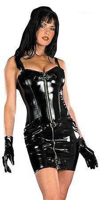 Leather Latex Bondage Mini Dress Sleeveless