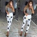 2016 New Stars Printing Casual Jeans High Waist White Jeans Women Pencil Pants Skinny Pantalon Femme