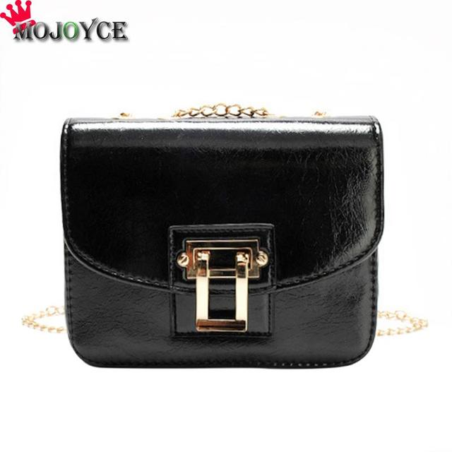 3356f2f6e9 Simple Women PU Leather Crossbody Bags Solid Small Square Chain Shoulder  Sling Handbags Female Pure Color Casual Black Handbags