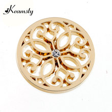 Keamsty Zinc Alloy Flower Coin Silver/Gold/Rose Gold 33mm Large Coin Disc Jewelry for My Coin Pendant Necklace(China)