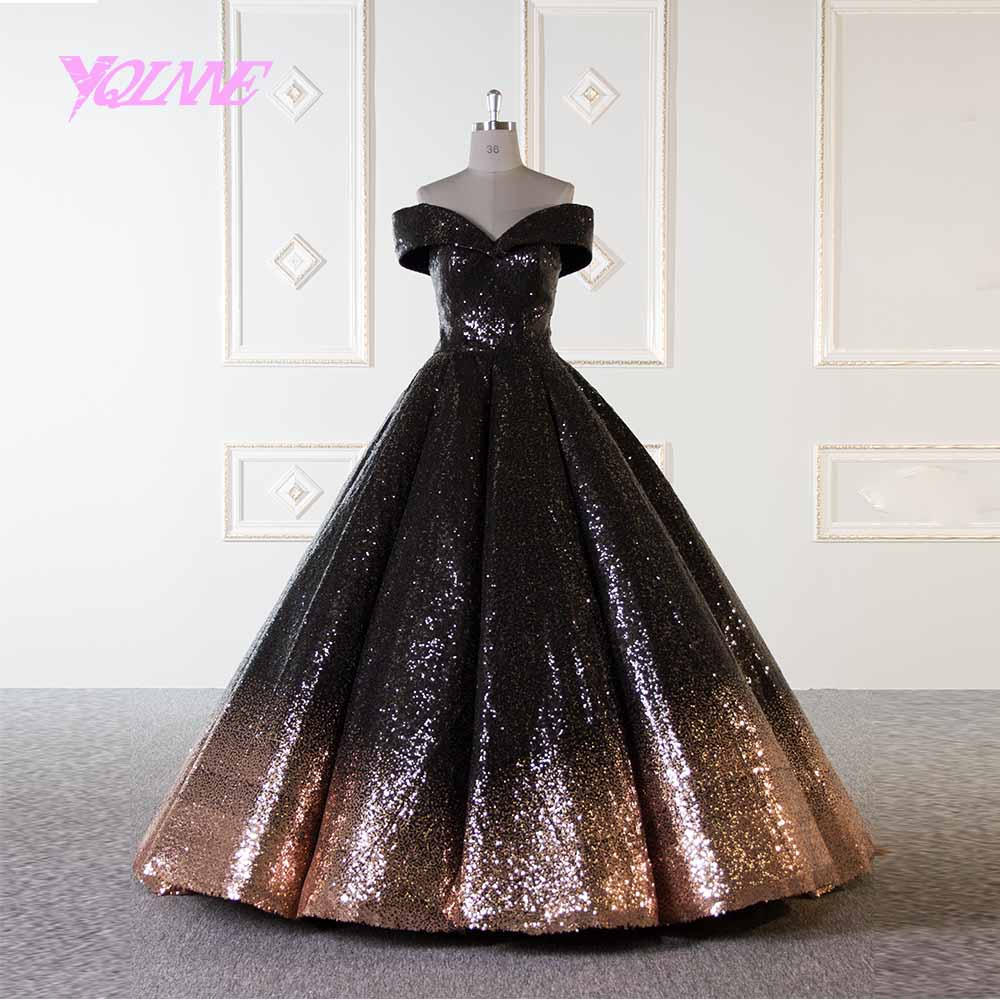 47139c89df YQLNNE Gold and Black Arabic Wedding Dress 2019 Ball Gown Bridal ...