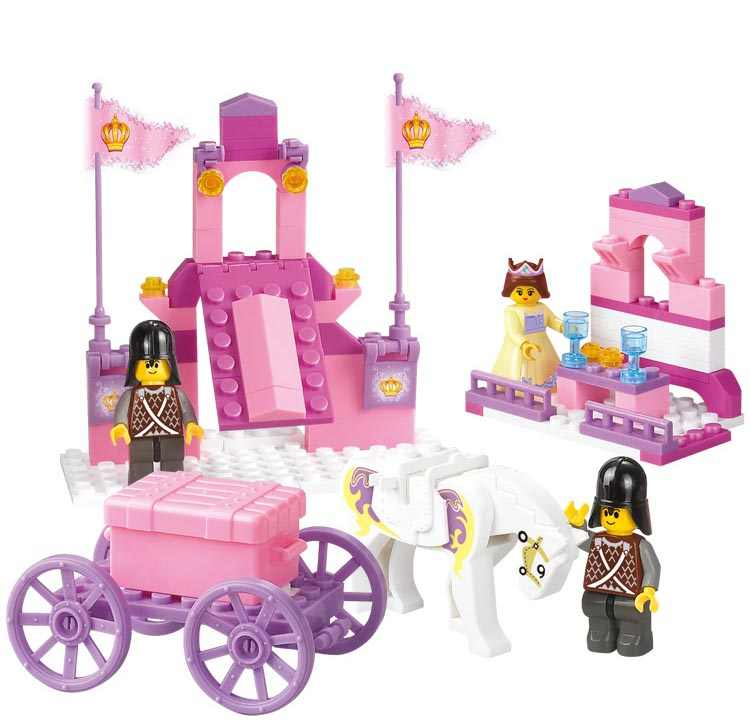 Sluban M38-B0250 eductional plastic Building Block Sets Girl Dream Princess Royal Carriage wagon children toys Christmas Gifts