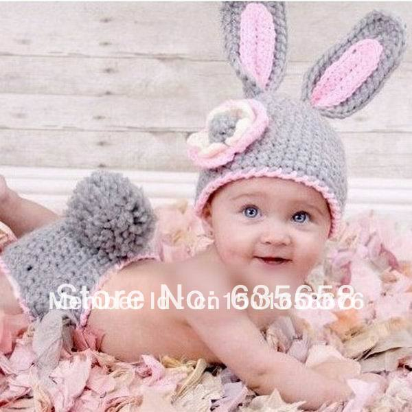 Pink Grey Rabbit Kids Set Handmade Outfits Newborn Infant Baby Boy