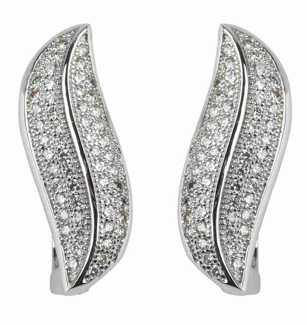 SHUNXUNZE White Cubic Zirconia Silver Plated Earrings R3165 Noble Generous Vintage Romantic Style Women Jewelry Gift Favourite