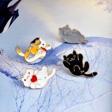 4pcs/set Heart Cat Enamel Lapel Pin