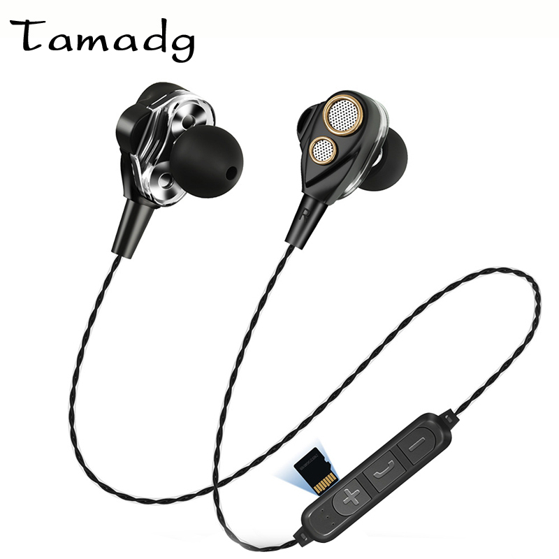 Double Drive Wireless Headphones Bluetooth 4.2 Stereo Bass headset Insert Memory Card Music Earphone With Mic for Phone XiaoMi