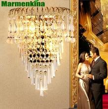 Кристалл Бра Гостиная ТВ стены Внутреннее освещение золото гостиная спальня LED bed head бра, E14 * 2.