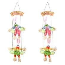 Heißer Doppel Bunny Ostern Anhänger Anhänger Home Shop Dekoration Tür Ornamente 2Pcs
