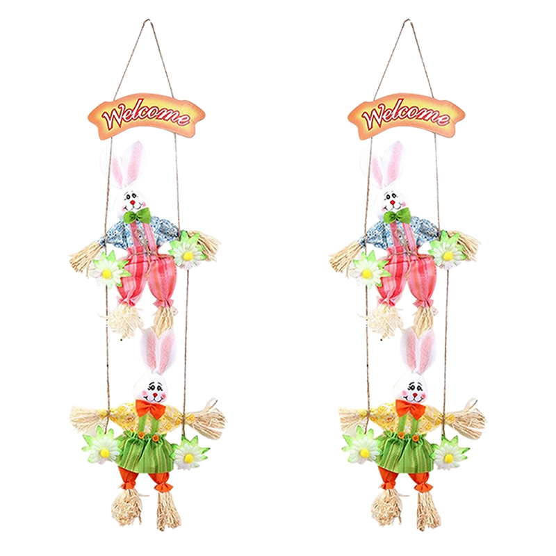 Hot Double Bunny Easter Pendant Pendant Home Shop Decoration Door Ornaments 2Pcs-in Figurines & Miniatures from Home & Garden