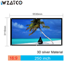 WZATCO 3D Screen Large Screen 250inch 4:3 3D Silver Projection Screen Fabric for Cinema XGIMI H2 H1 H1S Z6 Z3 JMGO J6S Projector