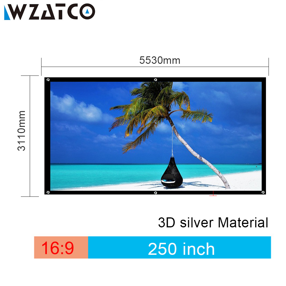 WZATCO Screen High-quality Large Screen 250 inch 16:9 3D Silver Projection Screen Fabric Without Frame for Cinema Free shipping free shipping 120 inch 16 9 manual screen metallic
