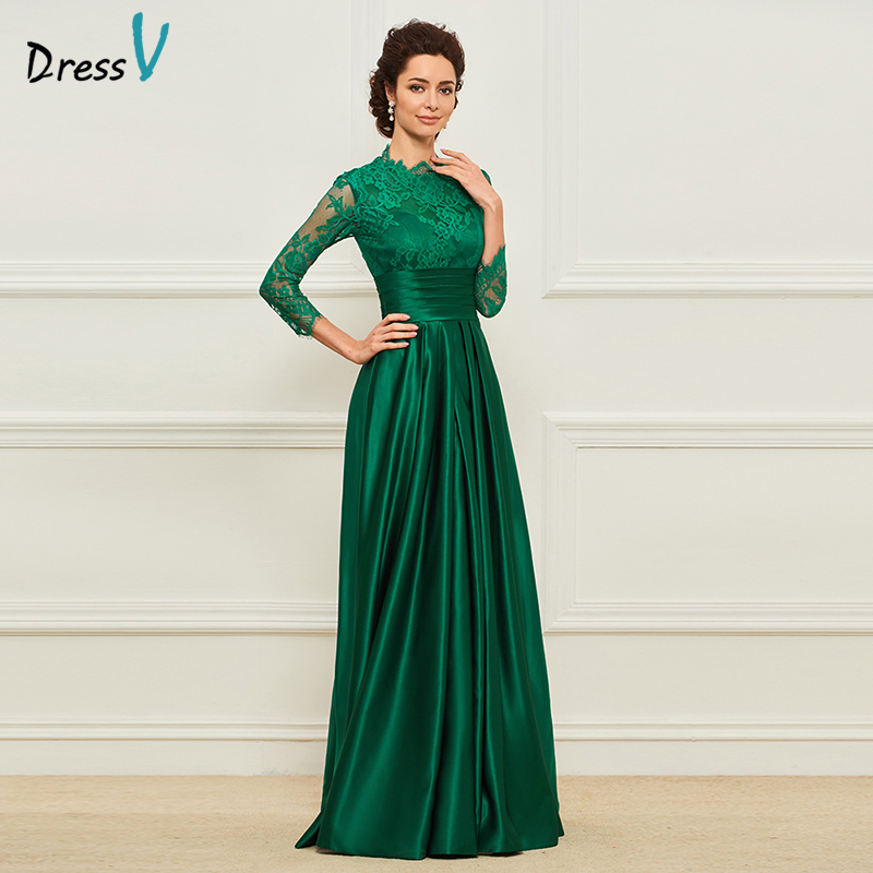 Simple And Elegant Wedding Dresses Boat Neck Three Quarter: Dressv Green Long Mother Of The Bride Dress Three Quarter